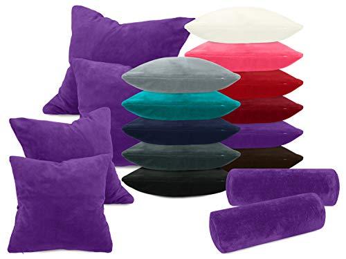 laken24 Kissenhüllen aus Coral-Kuschel-Fleece (2 Stück) - in 11 Unifarben - in 3 Größen, ca. 40 x 40 cm, lila