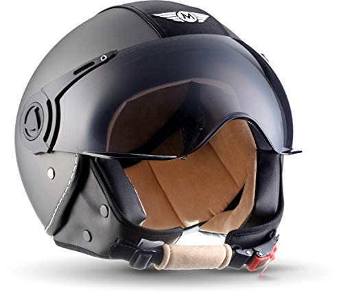 "Moto Helmets® H44 \""Vintage Titan\"" · Jet-Helm · Motorrad-Helm Roller-Helm Scooter-Helm Bobber Mofa-Helm Chopper Retro Cruiser Vintage Pilot Biker · ECE Visier Schnellverschluss Tasche M (57-58cm)"