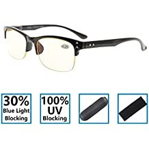 Gr8Sight 30% Bloqueo de luz azul, marco de plástico con protección UV 100% Bisagras de resorte con medio borde Especificaciones Antideslumbramiento Gafas de lectura con ordenador Amarilla Lente Negro +0.5