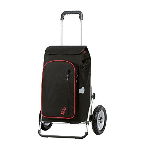 Andersen Einkaufstrolley Royal XXL luftbereift und 56 Liter Einkaufstasche Toto schwarz mit Kühlfach Einkaufswagen Gestell aus Aluminium klappbar - Breite Kugellager