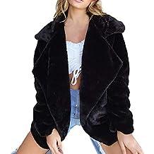 beautyjourney Abrigo de Invierno de Mujer, Chaquetas de Abrigo de Piel sintética con Solapa Suelta