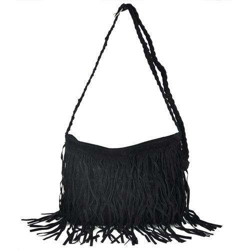 SODIAL Satchel schwarz Schwarz Tasche Damen gezeigt Wie Bild R PHqrP