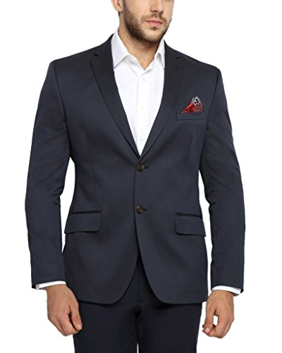 Suitltd Men's Poly Viscose Jacket (JT0121-36_Navy blue_36)