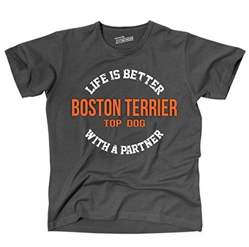 Siviwonder Unisex T-Shirt BOSTON TERRIER - LIFE IS BETTER PARTNER Hunde Dark Grey
