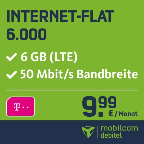 mobilcom-debitel Internet-Flat 6.000 im Telekom-Netz (9,99 EUR monatlich, 24 Monate Laufzeit, 6GB Internet-Flat, LTE, Triple-Sim-Karten)