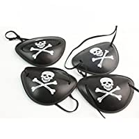 Tikiville Cool Black Pirate Eyepatches for Halloween Party Cosplay