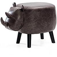 HAIZHEN Sillas sofás Taburetes Taburete de animales para niños Taburete de sofá de madera maciza Taburete de ganado estilo de dibujos animados Hogar cocina Oficina (Color : D-PU)