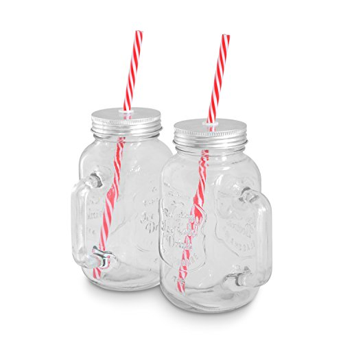 Lemonade Jar (Mason Jar Gläser (0,5 l) 2er Set von KITCHEN CREW Smoothie-Henkel-Gläser im Retro-Vintage-Design passend für den Mason Jar Smoothie Maker, Becher, Glas mit Deckel & Strohhalm ideal für SMOOTHIE TO GO!)