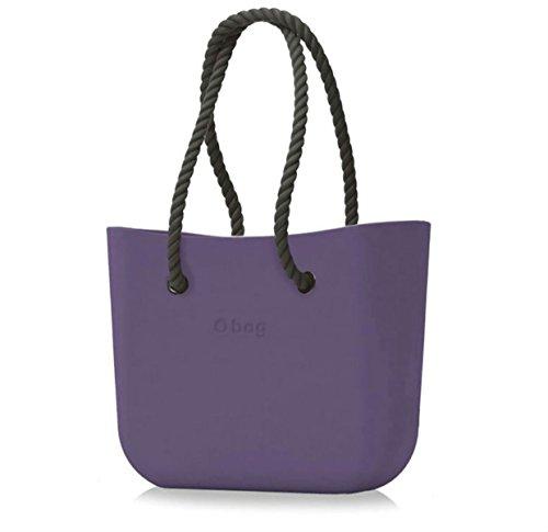Borsa o bag grande viola manici lunghi e sacca