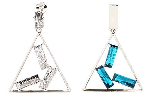 Belle Miss - Boucle D'Oreille Clip Forme Triangulaire Bleu