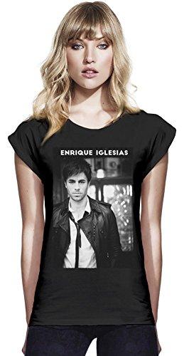 Black Enrique Iglesias Continental Frauen-Rolled-Hülsen-T-Shirt Medium