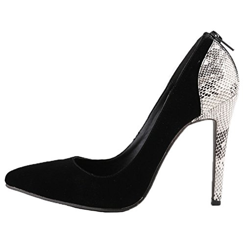 HooH Femmes Splicing Peau De Serpent Pointu Stiletto Escarpins Noir