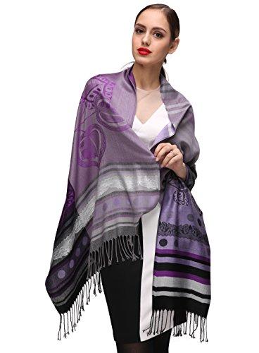 LORENZO CANA Designer Damen Pashmina hochwertiger Markenschal jacquard gewebtes Paisley 70 cm x 180 cm Modal harmonische Farben Schaltuch Schal Tuch 93285