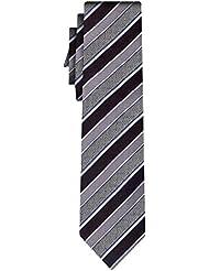 BOSS Seidenkrawatte BOSS wide stripe black silver