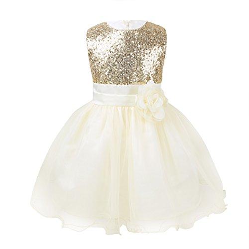iEFiEL Babykleid Mädchen Baby Taufkleid festlich Prinzessin Hochzeits Kleid Geburtstag Pailletten Partykleider 3-24 Monate (80-86(Herstellergröße:75), Champagner) (Champagner-mesh)