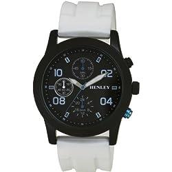 Henley Sports Men'- Armbanduhr Henley Gents Decorative Multi-Eye schwarzem Zifferblatt Analog-Anzeige und weiße Silikon Strap H02071.4