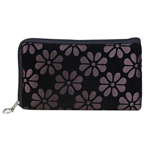 Floral Womens Wallet (Handbags,InSense Printed Floral Women Wallet Coins Change Purse Zipper Phone Keys Bags (Coffee) Wallet)