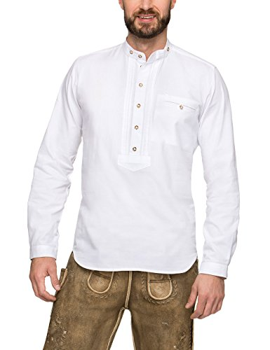 Stockerpoint Herren Trachtenhemd Renus2, (Weiß), Large
