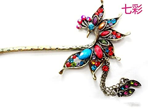 Vintage tassels hairpin, elegant peacock hair stick YHQ6029,Purple by SOGNIMIEI