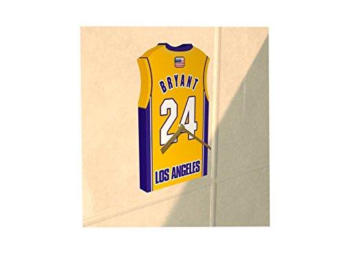 NBA - Horloge murale en forme de T-shirt de foot au couleur de votre équipe préférée!!! Personnalisation gratuite: n'importe quel nom, numéro, équipe!! (LA Lakers)
