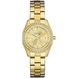 Caravelle NY Ladies Crystal Women's Analogue Watch with Gold Dial Analogue Display and Stainless steel plated gold-coloured - 44M108