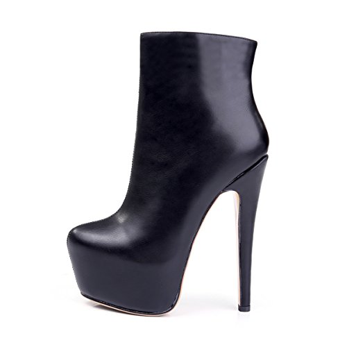 Onlymaker Damen Pumps Stiefel High Heel Fashion Ankle Boots mit Rei?Verschluss Plateau Schwarz EU40 -