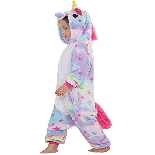 kinder einhorn pyjama, weiche flanell tier strampler kostüm mit tasche für kinder im alter von vier bis zehn jahren geburtstagsgeschenk (4-5Y(fit height 95-105cm), Star unicron pajamas) (Unicron Spielzeug)
