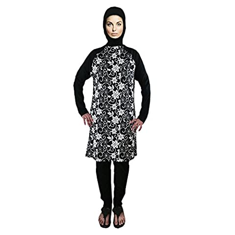 Black and White floral burkini -