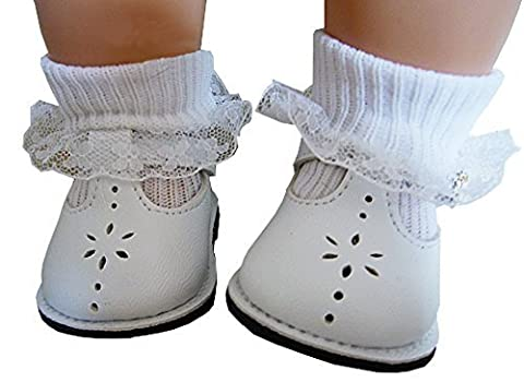 White T-Strap Shoes & Lace Trim Socks for Bitty Baby + Twins Doll Clothes