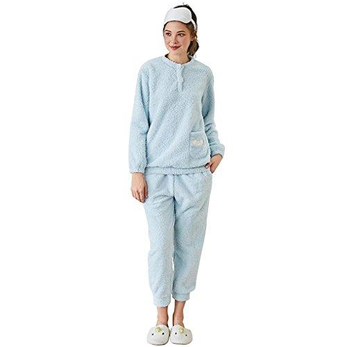 HXQ Flanell Schlafanzug Damen Lang Nachtwäsche Set Zweiteiliger Winter Pyjama , blue , xxl