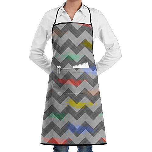 Voxpkrs Stripe Car Unisex Chef Aprons with Pockets for Mens Womens Home Kitchen Cooking Bakery Servers Waitress Craftsmen