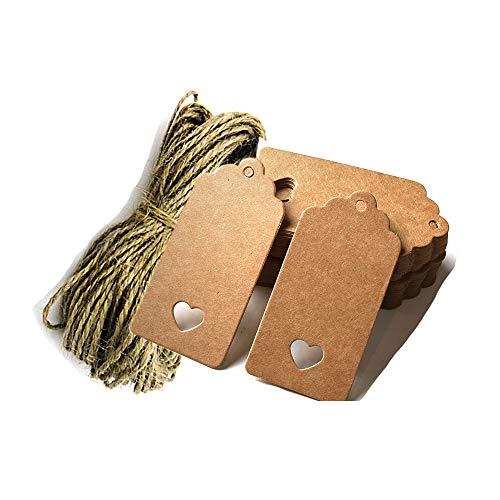 Aofocy 100pcs Geschenkanhänger/Kraft Hänge-Anhänger mit Freischnitt Saiten für Geschenke Handwerk und Preis Tags überbacken Tag Kunst Farbe mit Herz + 20m Jute Bindfäden