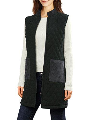 allegra-k-femme-collier-position-zip-up-veste-tunique-matelassee-velours-cotele
