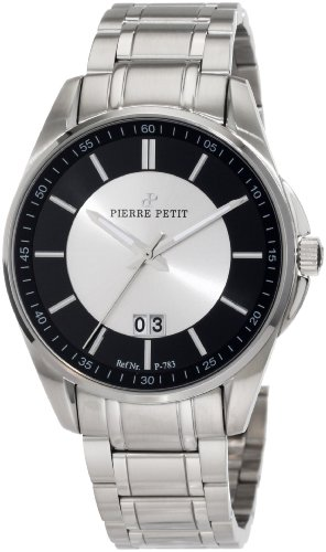Pierre Petit Men's P-783C Serie Le Mans Black and Silver Big Date Stainless-Steel Bracelet Watch