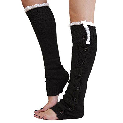 ANGTUO knit Kniehohe Stiefel Manschetten, stricken Frauen Beinlinge Winter weiche Spitze Stiefel Socken 1 Paar (Spitze Kniehohe Stiefel)