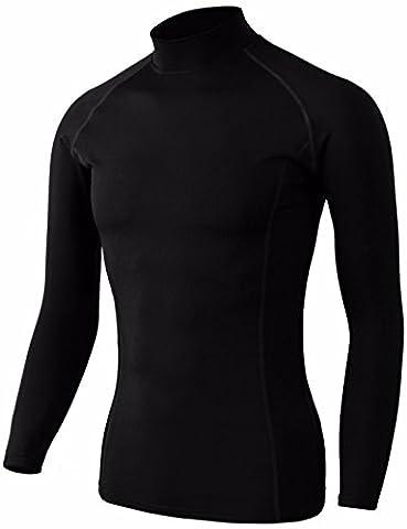 BCPOLO Männer Mock Neck Kompression Basisschicht Stretch Langarm T-Shirt Black-XS