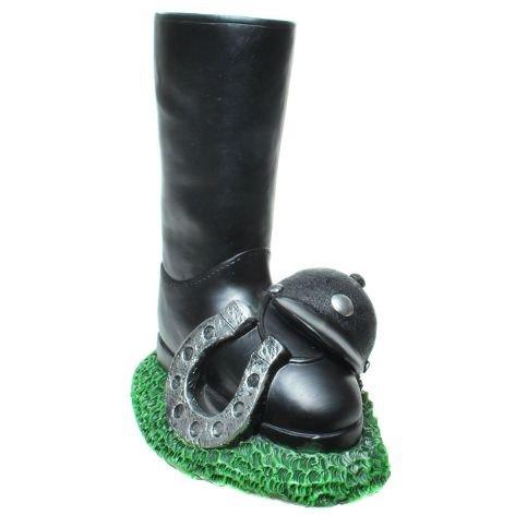 Spardose Poly Reitstiefel grün schwarz 21x18cm