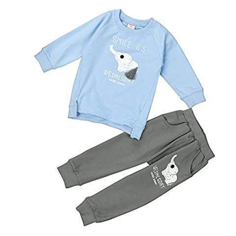 DAYSEVENTH Kid Girls Boys Elephent priting Long Sleeve Sweater+Pant Sports