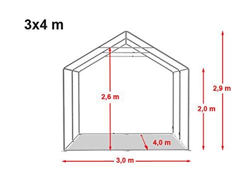 Lagerzelt mit Bodenrahmen und Dachverstärkung 3 x 4 m, hochwertige 500g/m² PVC Plane in dunkelgrün 100% wasserdicht, vollverzinkte Stahlkonstruktion mit Verbolzung -