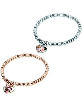 JewelryWe Schmuck Charme Damen Kugel Perlen Armband mit persönlicher FOTOGRAVUR | Bild & Text Wunsch-gravur, Perlenkette...