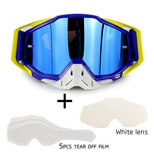 OUYAWEI Motorrad-Cross-Country-Brille Outdoor-Brille Set mit transparenter Linse und zerreißbarer Folie Blauer Anzug