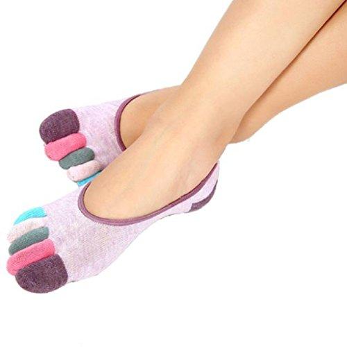 Auxma Damen 5-toe Colorful Yoga Gym rutschfest Belüftung Weich Massage Fuß Socken Täglich Socken (Violett) (Gestreifte Weiche Fuzzy-socken)
