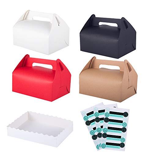 Winko Treat Boxen, dekorative Geschenkbox, 12 Stück, für Backwaren, Kuchen, Cupcakes, Kekse, Schokolade, 12 Tabletten und 45 Aufkleber enthalten (4 Farben)