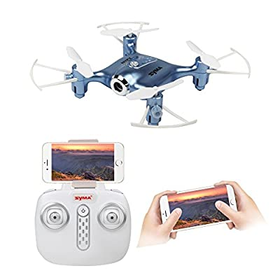 Syma X21W 2.4gHz Mini WIFI Real-time transmission Drone with 0.3MP HD Camera,One key take-off or landing RC Quadcopter ( Blue) from SYMA
