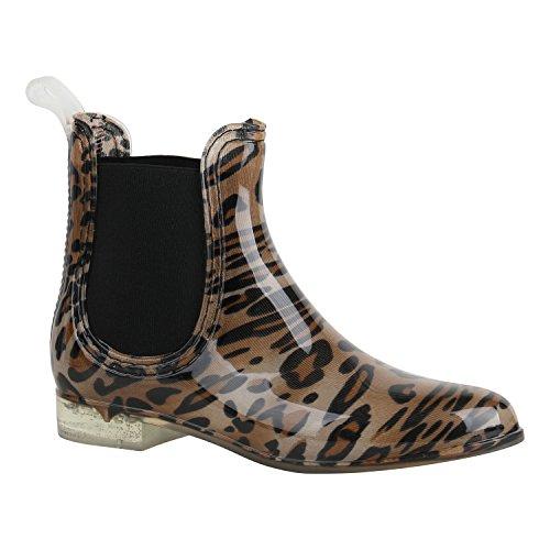 Stiefelparadies Bequeme Damen Schuhe Stiefeletten Gummistiefel Lack 156879 Leopard Schwarz 40 Flandell