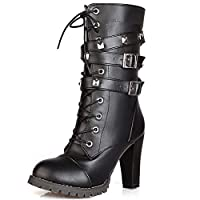 Vitalo Womens Lace Up High Heel Ankle Studded Combat Buckle Military Biker Boots with Zipper