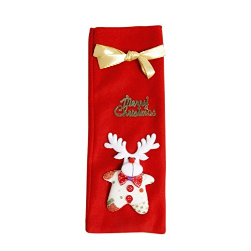 Weihnachten Weinflasche Geschenk Tasche, Keepwin Weihnachtsmann Hirsch Tree Bär Pattern mit Bowknot Dekorativer Gürtel Wein Abendessen Flaschen Wrap Abdeckungs Beutel Beutel Dekoration 13.8*5.1
