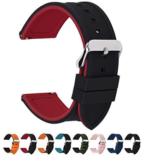 Fullmosa Silikon Uhrenarmband 20mm mit Schnellverschluss in 8 Farben, Regenbogen Weich Silikon Uhrenarmband mit Edelstahlschnalle,20mm Schwarz+Rot