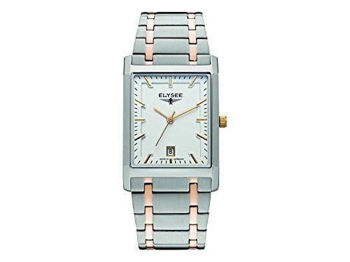 ELYSEE Men's Square Multicolor Two Tone Steel Bracelet Steel Case Quartz Silver-Tone Dial Watch 83811