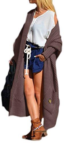 Boho Pullover Top (Damen Strickjacke Pullover Cardigan Langarm Oversize 36 38 40 S M L (658) (Braun))
